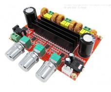 Усилитель D класса, на 2 x TPA3116D2, 2.1 50W + 50W, сабвуфер 100W