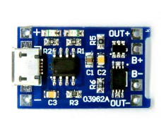 Плата заряда аккумуляторов Li-Ion 18650 с защитой, micro USB, TP4056