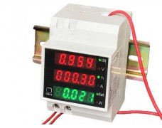 Ваттметр однофазный 200-450В до 100А на DIN-рейку, цифровая индикация