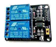 Релейный модуль - 2 канала, управление 5В, максимальный ток 10А