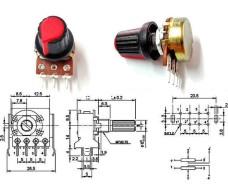 Потенциометр с ручкой, переменный резистор, номиналом 1 кОм WH148