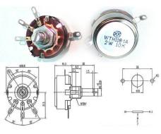 Потенциометр, переменный резистор, номиналом 10 кОм, 2 Вт, WTH118-1A